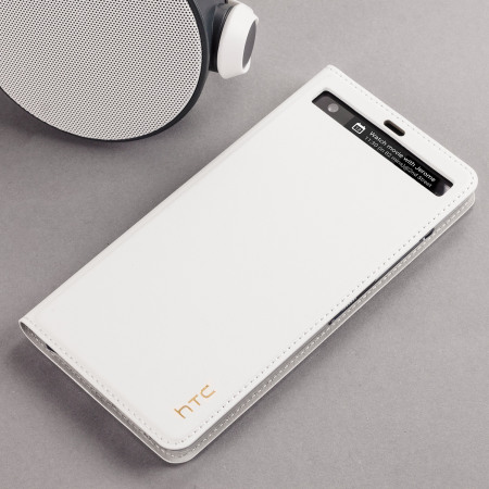 Official HTC U Ultra Genuine Leather Flip Case - Milky White