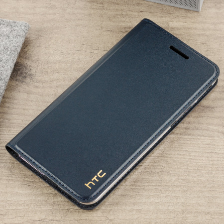 new styles e5b21 962af Official HTC U Play Genuine Leather Flip Case - Dark Blue