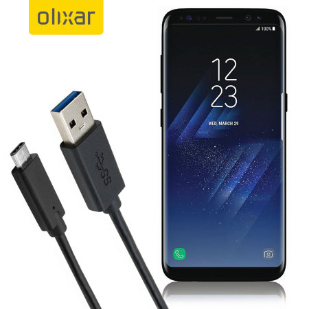 Olixar USB-C Samsung Galaxy S8 Plus Charging Cable - Black 1m
