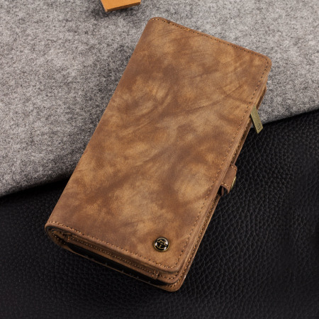 Luxury Samsung Galaxy S8 Plus Leather-Style 3-in-1 Wallet Case - Tan