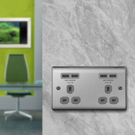 4 Port USB Double UK Plug Socket - Brushed Steel