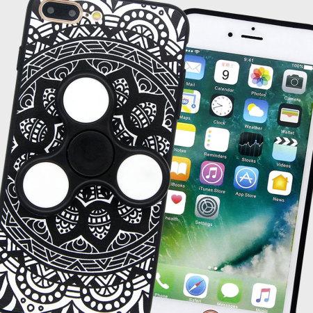 Olixar iPhone 8 / 7 Plus Fidget Spinner Pattern Case - Black / White