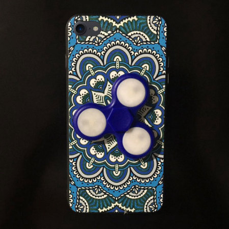 olixar iphone 8 / 7 fidget spinner pattern case - blue / white