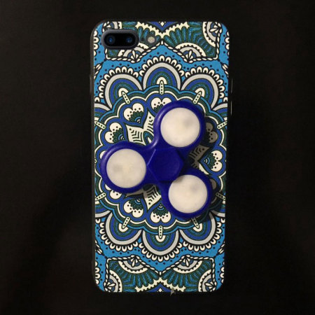 Olixar iPhone 7 Plus Fidget Spinner Pattern Case - Blue / White