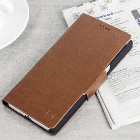 Olixar Lederen Stijl Blackberry KeyONE Portemonnee Case - Bruin