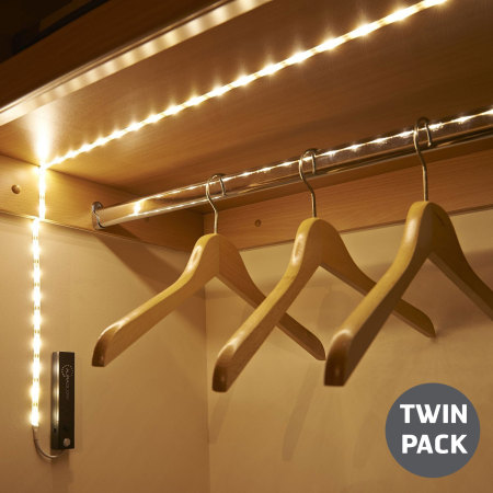 AGL Wireless 30 LED 1m Motion Sensor Strip Light - Twin Pack