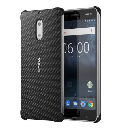 san francisco 9f46a fd684 Official Nokia 6 Carbon Fibre Design Hard Case - Black