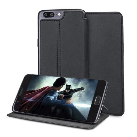 new arrivals a0a4d 02ee5 Olixar Slim Genuine Leather Flip OnePlus 5 Wallet Case - Black