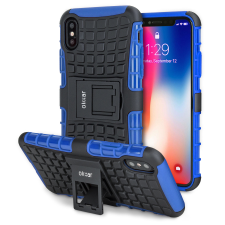 olixar armourdillo iphone x protective case - blue