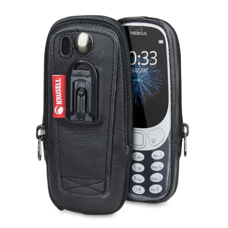 Krusell Classic Nokia 3310 2G 2017 Genuine Leather Pouch Case - Black