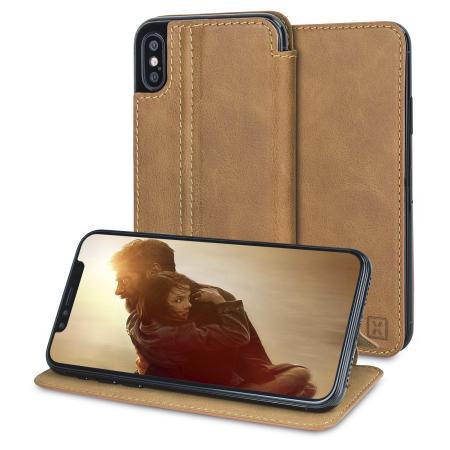 Olixar Slim Genuine Leather Flip iPhone X Wallet Case - Tan