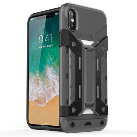 Olixar X-Trex iPhone X Rugged Card Kickstand Case - Grey