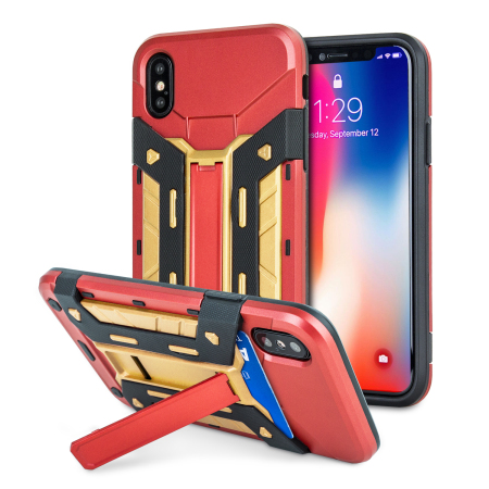 Olixar X-Trex iPhone X Rugged Card Kickstand Case - Red / Gold