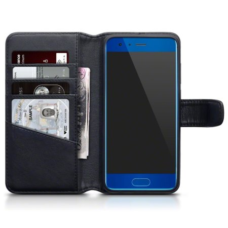 Olixar Genuine Leather Huawei Honor 9 Wallet Case - Black