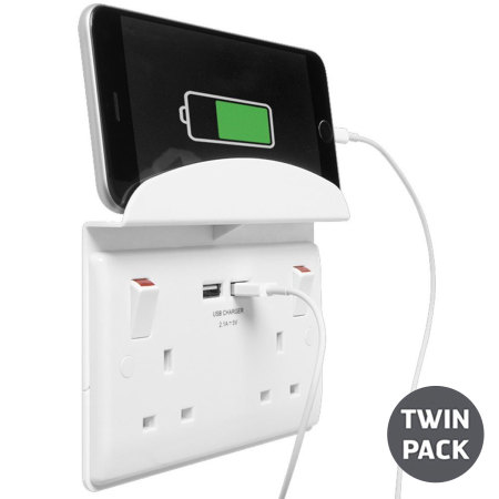 2 Port USB Double UK Plug Socket with Phone Shelf - Twin Pack