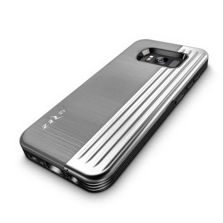 Zizo Retro Samsung Galaxy S8 Wallet Stand Case - Silver