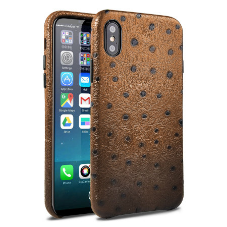 coque iphone x olixar ostrich premium en cuir v ritable marron avis. Black Bedroom Furniture Sets. Home Design Ideas