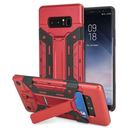 Olixar XTrex Galaxy Note 8 Rugged Card Kickstand Case - Red