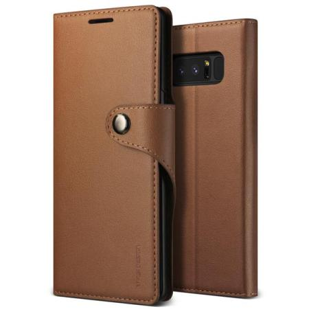VRS Design Daily Diary Leather-Style Galaxy Note 8 Case - Brown