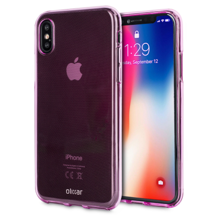 olixar flexishield iphone x gel case - pink