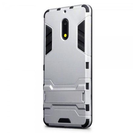 Olixar Nokia 6 Dual Layer Armour Case & Kickstand - Silver