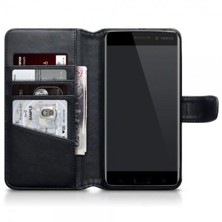 Olixar Genuine Leather Nokia 6 Wallet Stand Case - Black