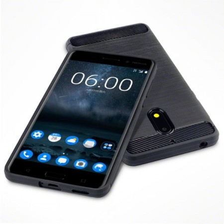 coque nokia 6 olixar tpu gel fibre de carbone noir. Black Bedroom Furniture Sets. Home Design Ideas