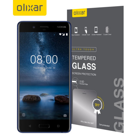 Olixar Nokia 8 Full Cover Tempered Glass Screen Protector - Black