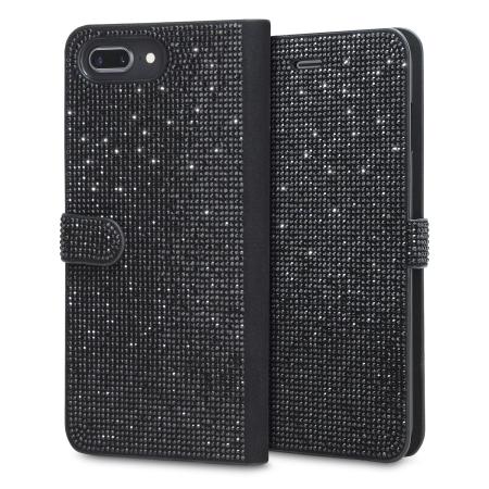 big sale 57c30 025a4 LoveCases Luxury Diamond iPhone 8 Plus / 7 Plus Wallet Case - Black