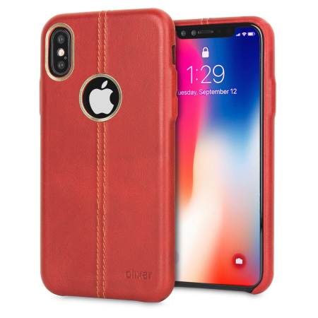 iphone x leather case - olixar premium slim - red reviews