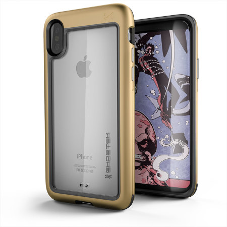 ghostek atomic slim iphone x tough case - gold