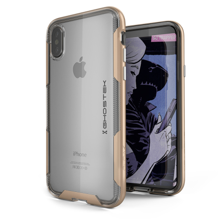 ghostek cloak 3 iphone x tough case - clear / gold
