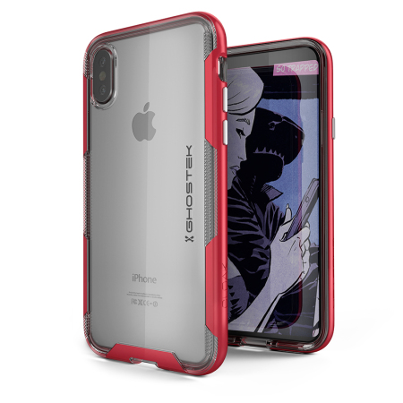ghostek cloak 3 iphone x tough case - clear / red