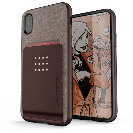 ghostek exec series iphone x wallet case - brown