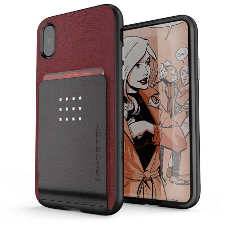 ghostek exec series iphone x wallet case - red