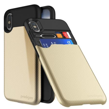 prodigee undercover iphone x card slot case - gold