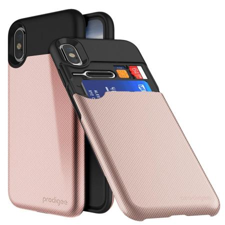 prodigee undercover iphone x card slot case - rose gold