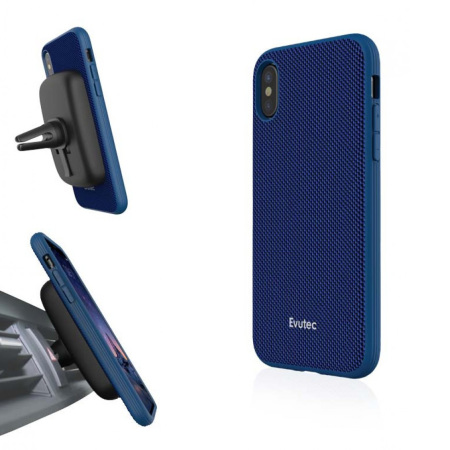 evutec aergo ballistic nylon iphone x tough case & vent mount - blue