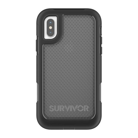 griffin survivor extreme iphone x tough case - black / clear