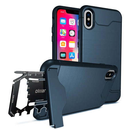 olixar x-ranger iphone x survival case - marine blue