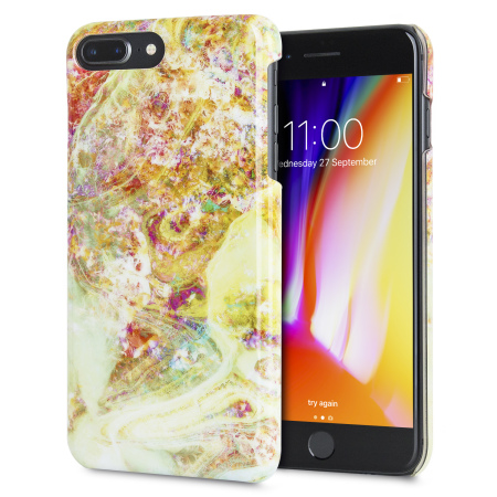 lovecases marble iphone 8 plus / 7 plus case - opal gem yellow
