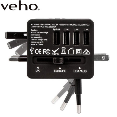 Veho TA-1 Universal 4-Port USB World Travel Mains Charger 3 5A - Black