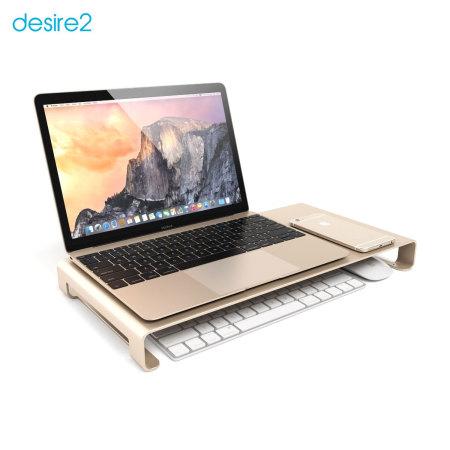 Desire2 View My Screen Premium Monitor / Laptop Riser Stand - Gold