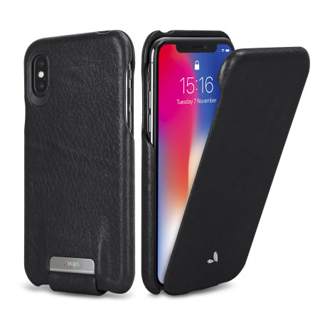 online store 8ab66 56d51 Vaja Top Flip iPhone X Premium Leather Flip Case - Black