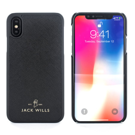 jack wills iphone x genuine saffiano leather shell case - black