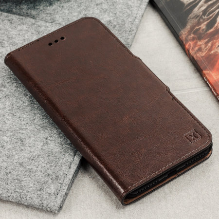 reputable site 54da2 7ea3c Olixar Leather-Style Oneplus 5T Wallet Stand Case - Brown
