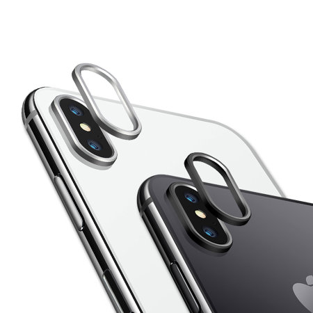 cheap for discount da961 4a10e Olixar iPhone X Camera Lens Protector Metal Ring - Black / Silver