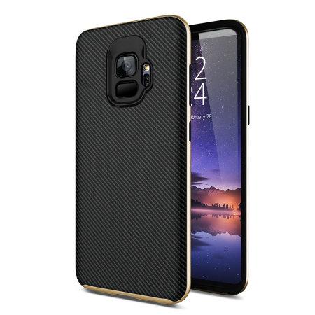 Coque Samsung Galaxy S9 Olixar X-Duo effet fibres de carbone – Or