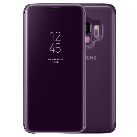 on sale a39b9 1a351 Official Samsung Galaxy S9 Clear View Stand Cover Case - Purple