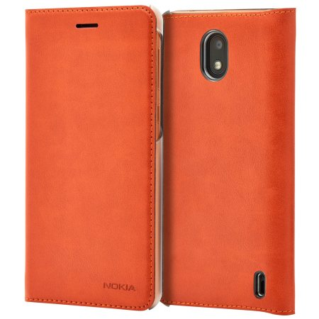 best service 06dbe c3d40 Official Nokia 2 Leather Flip Wallet Case - Tan Brown